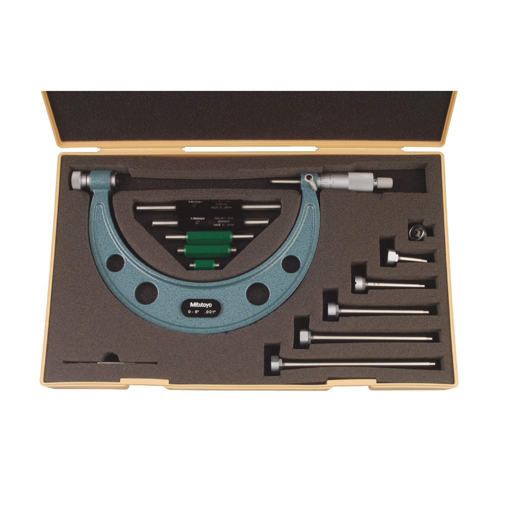 Outside Micrometer Set With Interchangeable Anvils