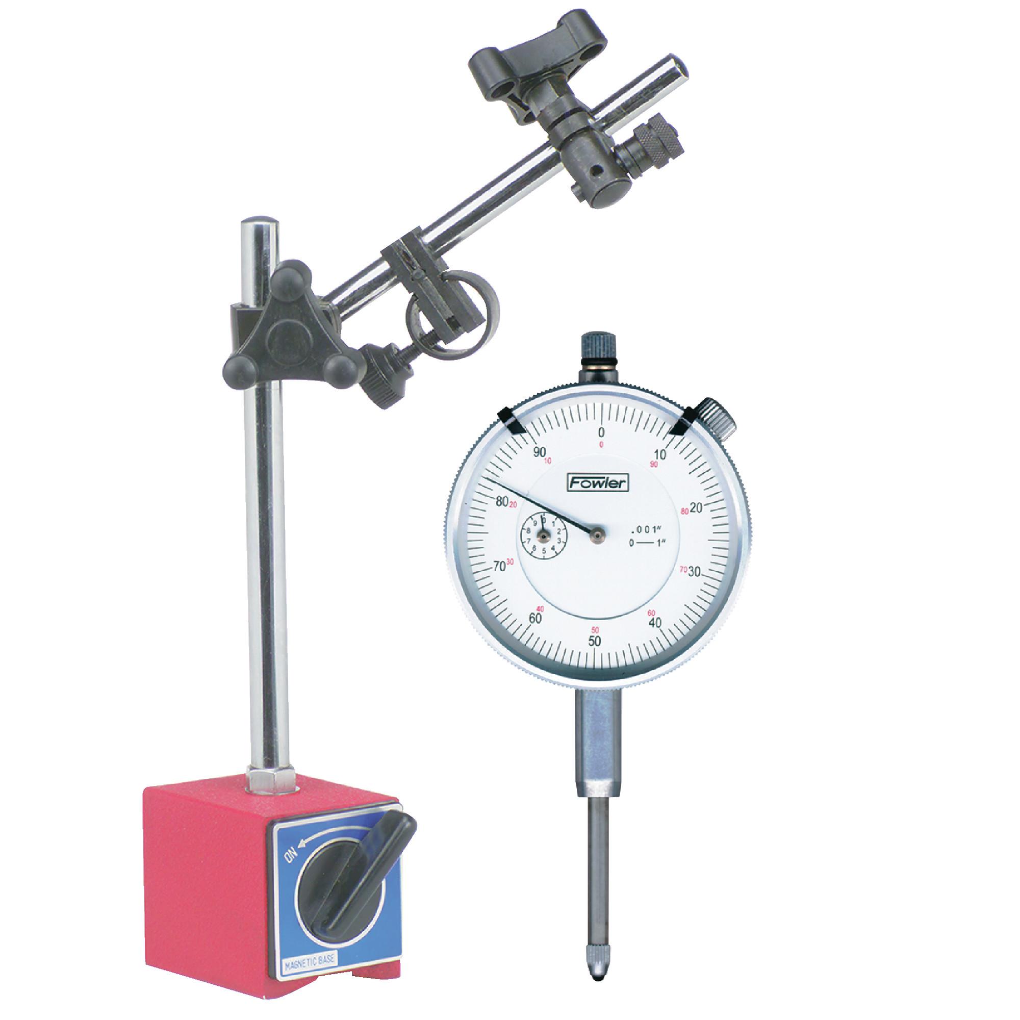 "Fowler 1"" White Dial Indicator & TTC Magnetic Base Combo Set"