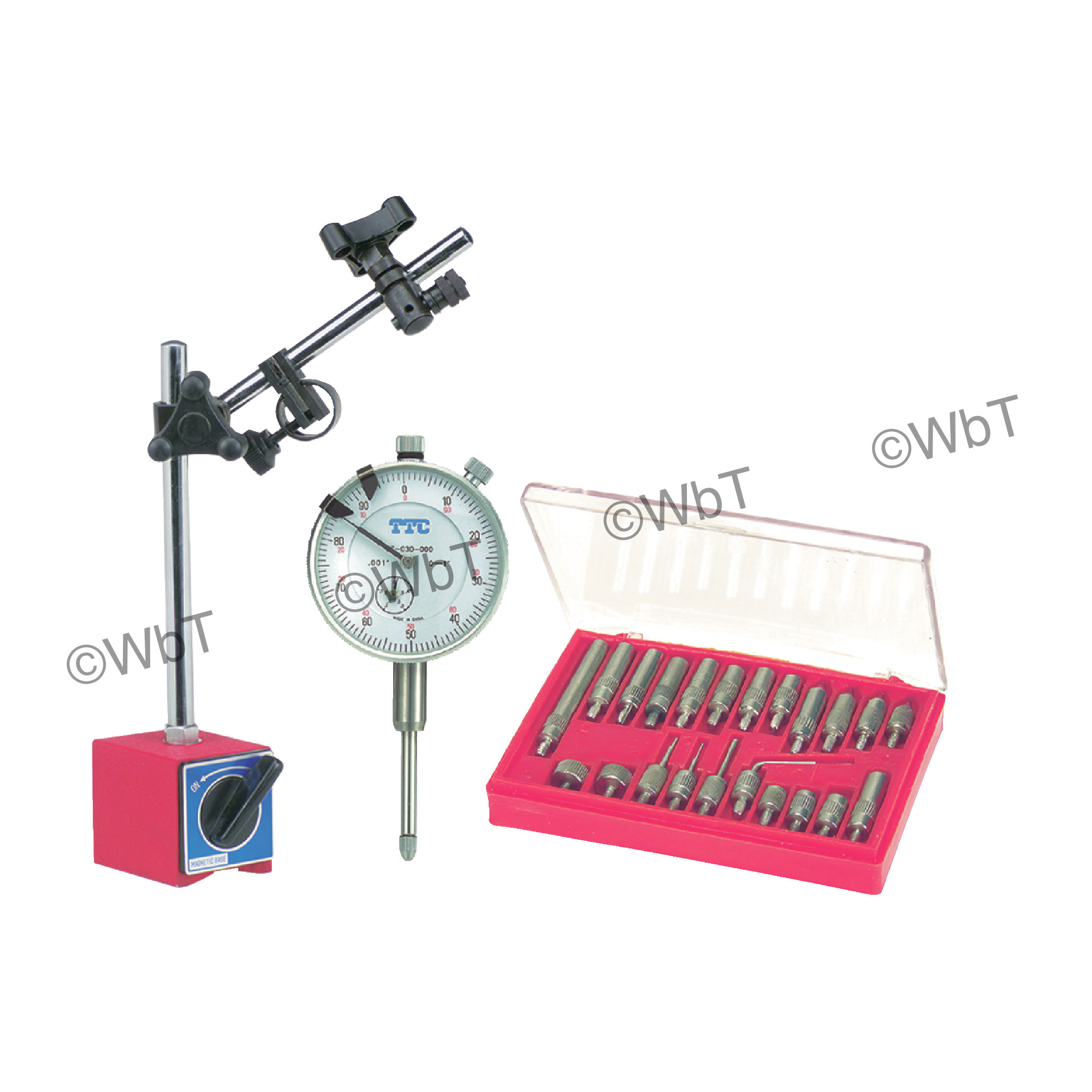"""Magnetic Base, 1"""" Dial Indicator and 22 Piece Point Set"""
