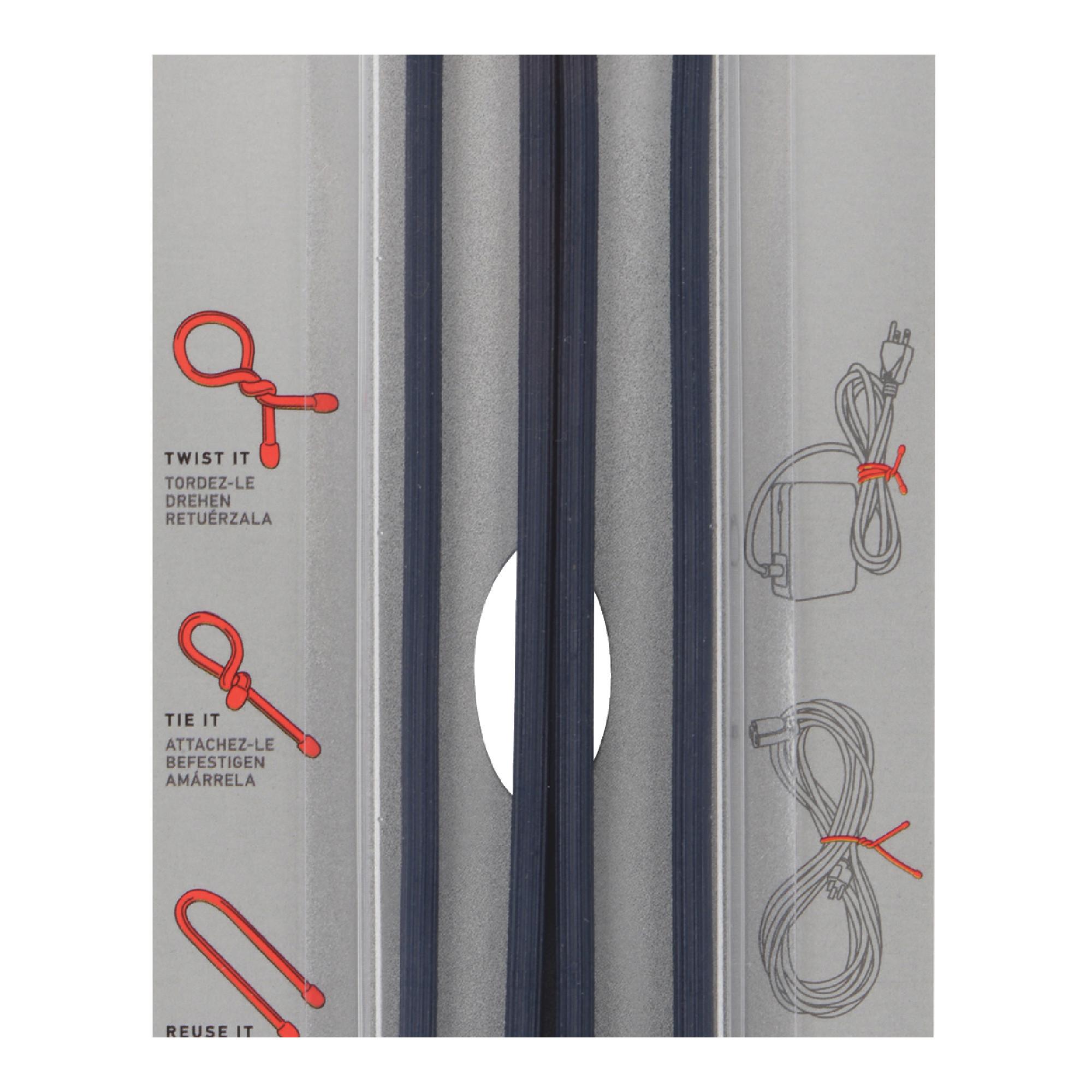 """12"""" Reusable Rubber Twist Tie Cable, Black"""