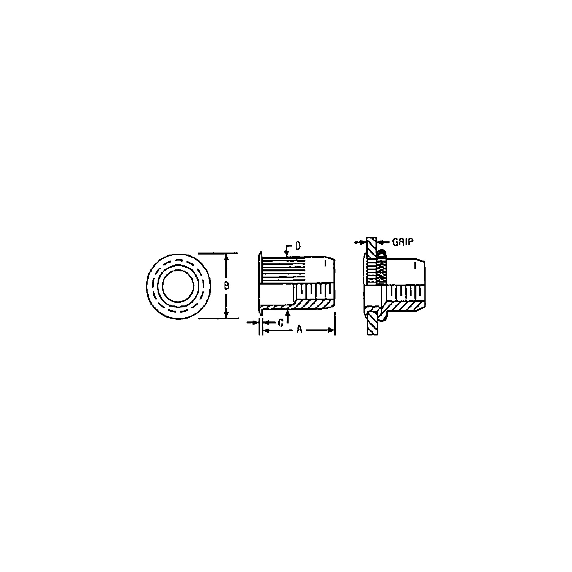 Klik® Steel Ribbed Rivet-Nut