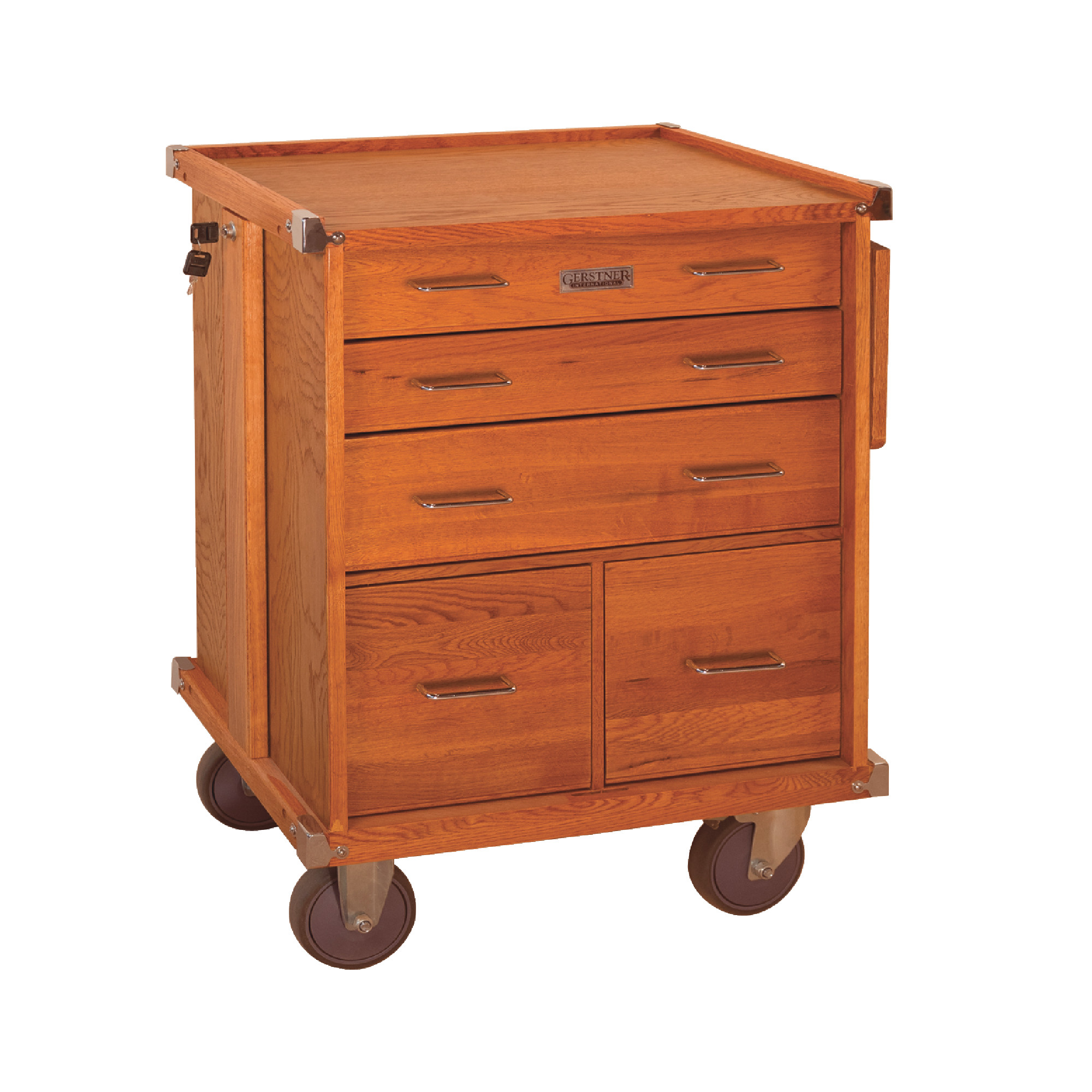 5-Drawer Roller Cabinet with Full Extension Drawer Slides and Collapsible Side Work Shelf