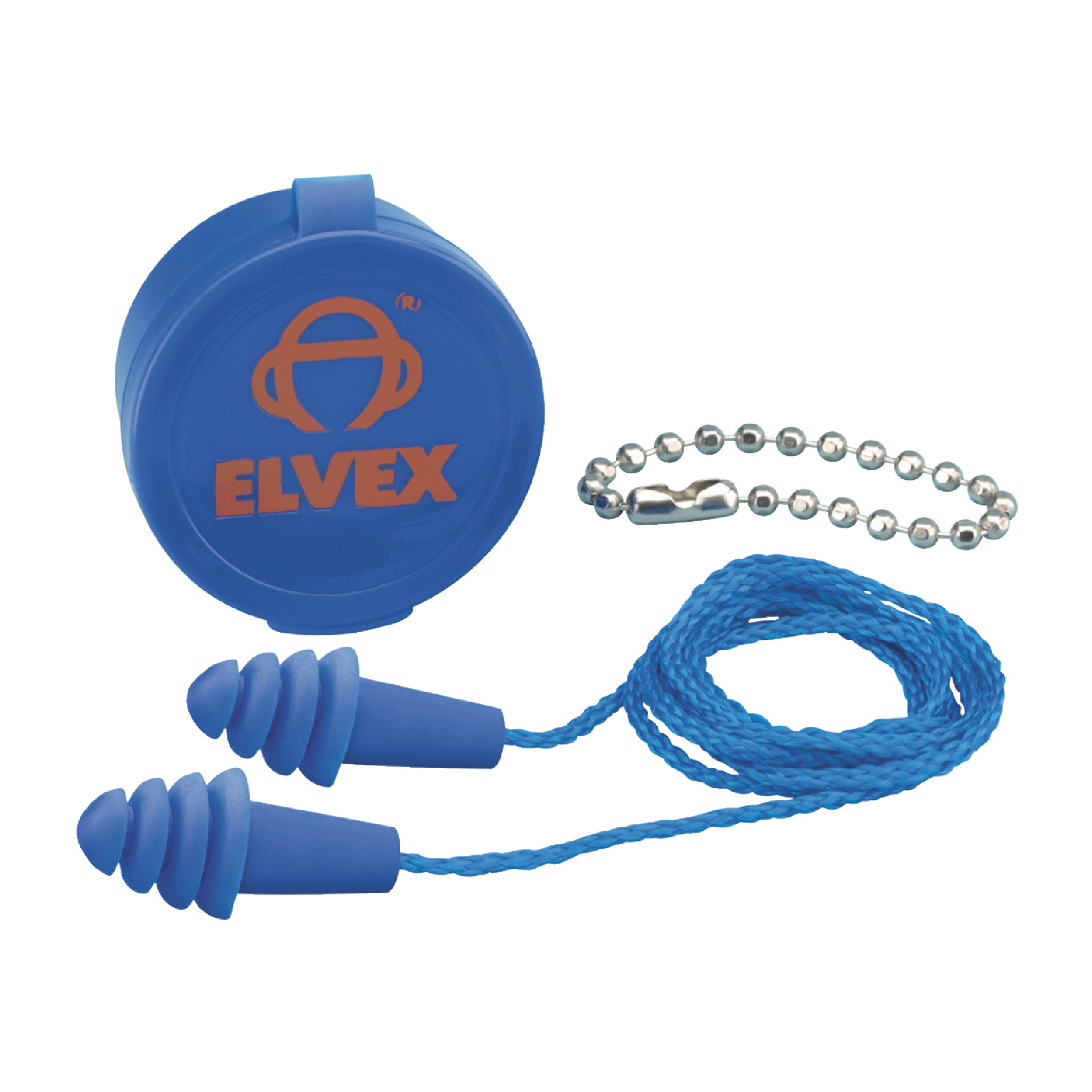 ELVEX Quattro Reusable Corded Blue Ear Plugs - 50/Pack