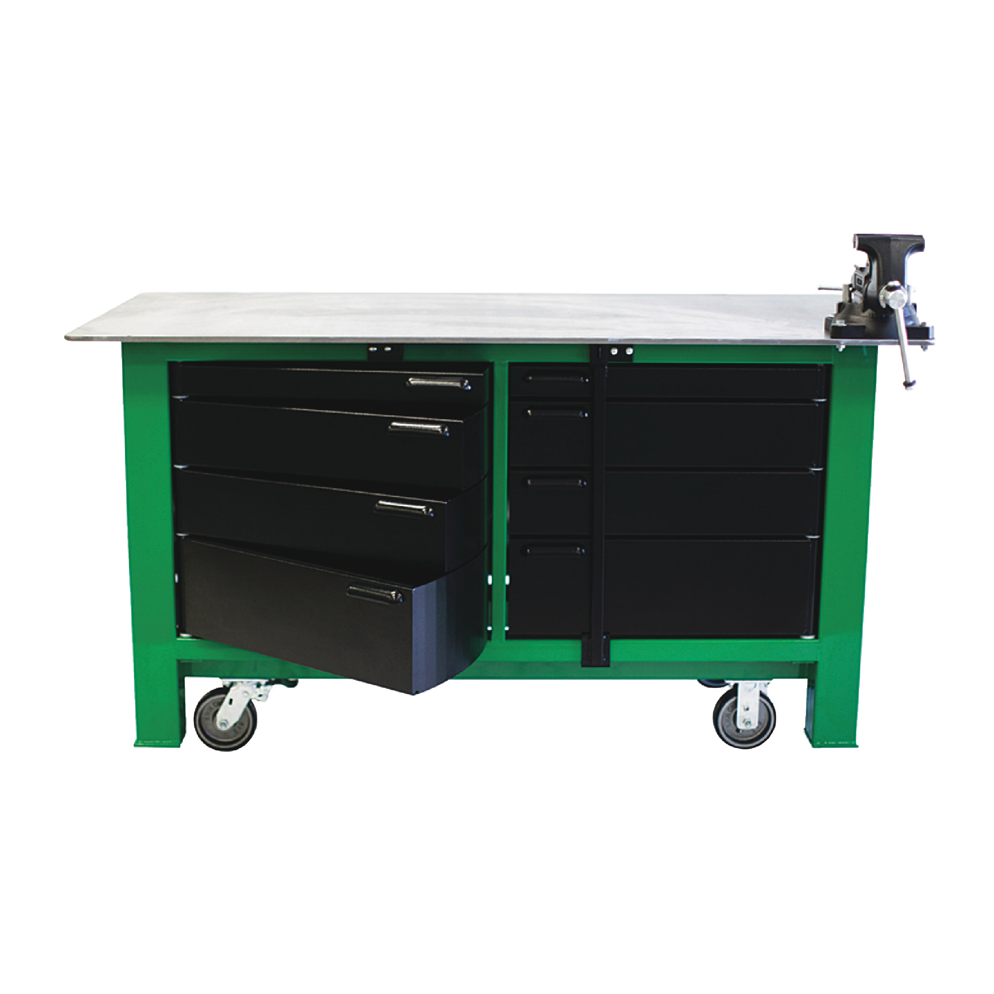 6' Long With Casters Two Full Banks Of Drawers