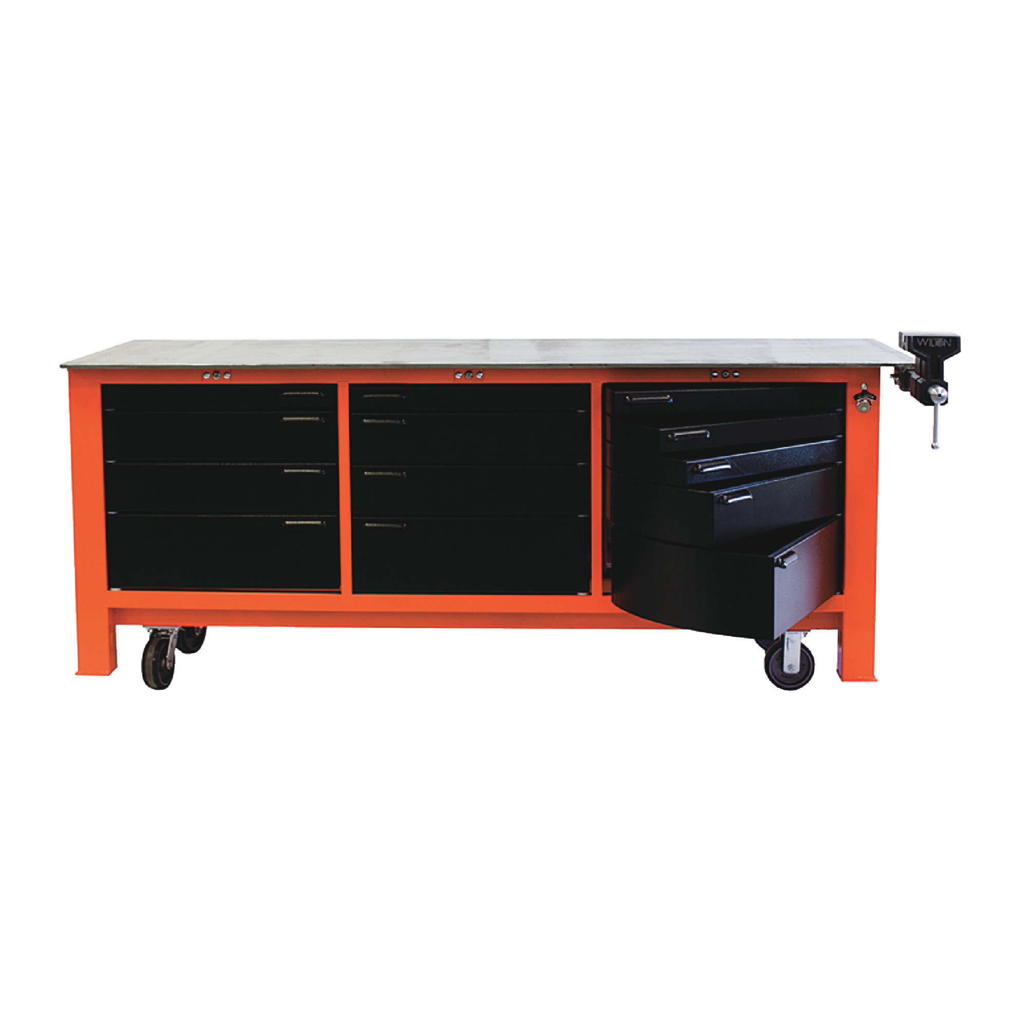 8' Long With Casters Three Full Banks Of Drawers