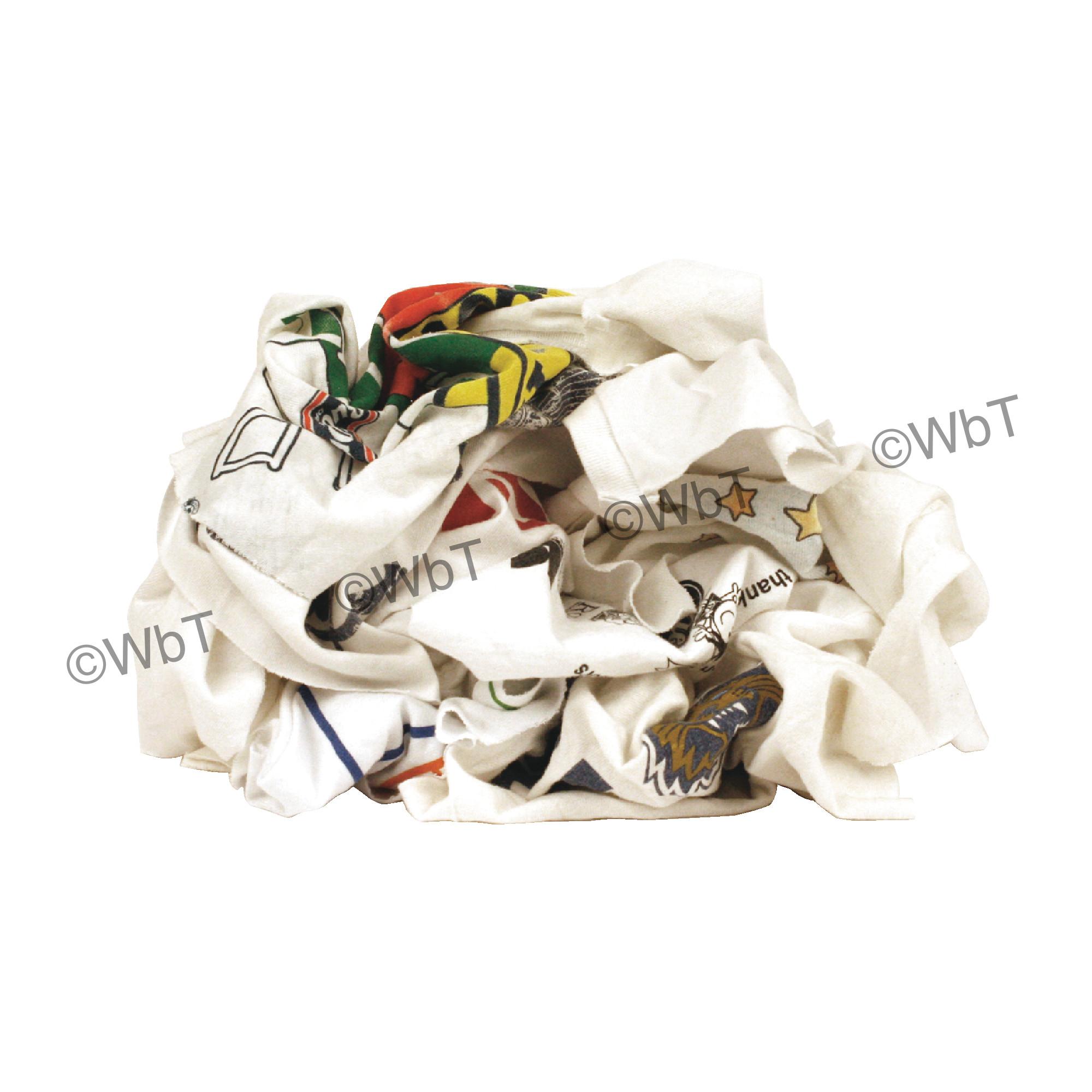 25 Lbs Reclaimed White T-Shirt Rags